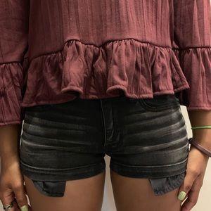 Distressed Black American Eagle Shorts